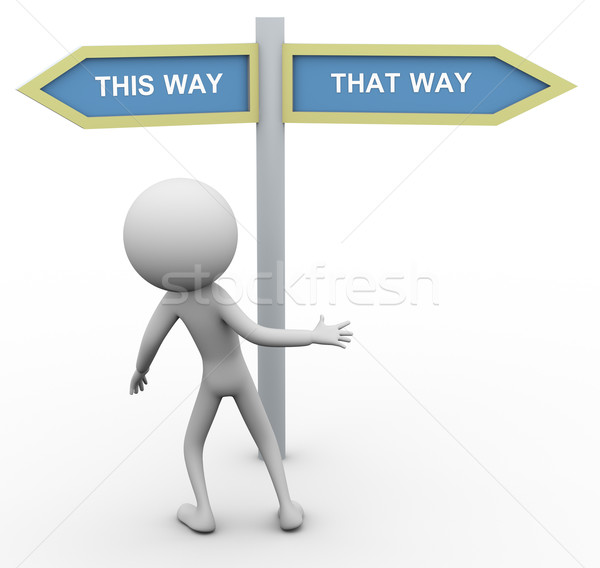 3d man which way to go Stock photo © nasirkhan