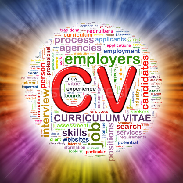 Word tags circular wordcloud of CV  Stock photo © nasirkhan