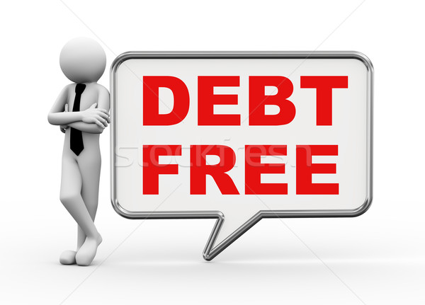 3d businessman with speech bubble - debt free Stock photo © nasirkhan