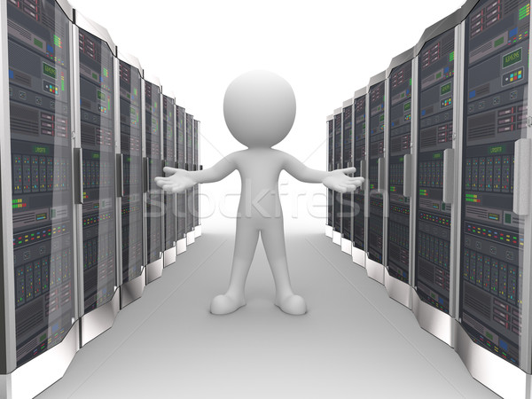 3d man in data computer network server Stock photo © nasirkhan