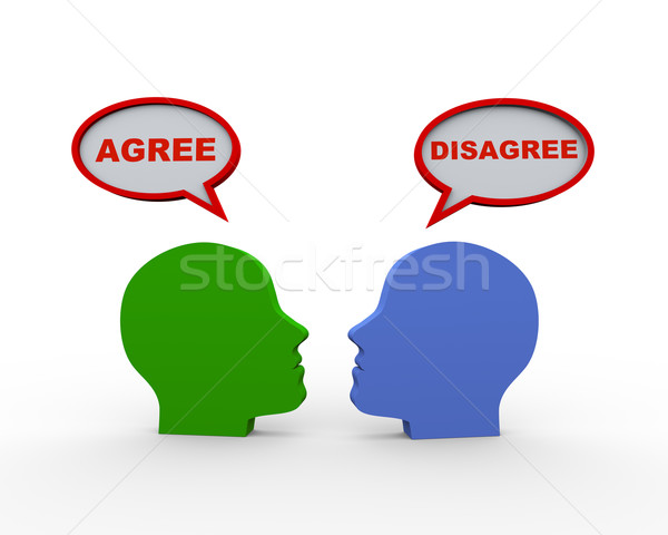 3d heads with agree disagree speech bubble Stock photo © nasirkhan