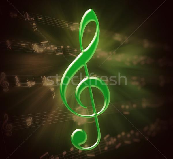 Verde illustrazione musica punteggio foglio carta Foto d'archivio © nasirkhan