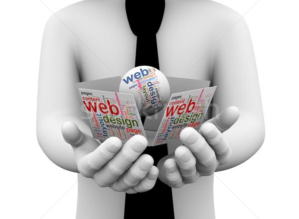 3D üzletember tart web design szófelhő renderelt kép Stock fotó © nasirkhan