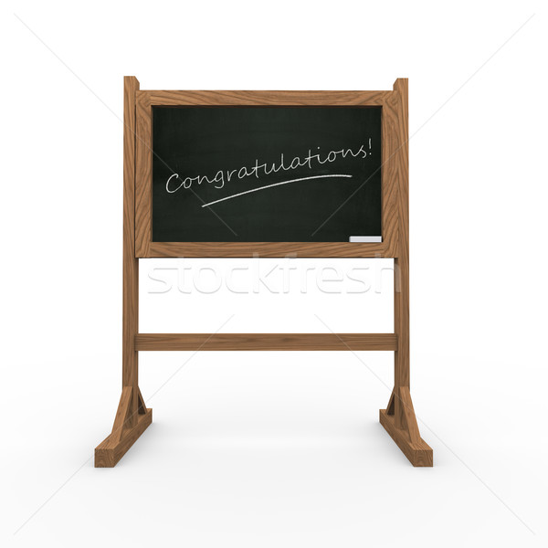 3d black chalkboard word congratulations Stock photo © nasirkhan