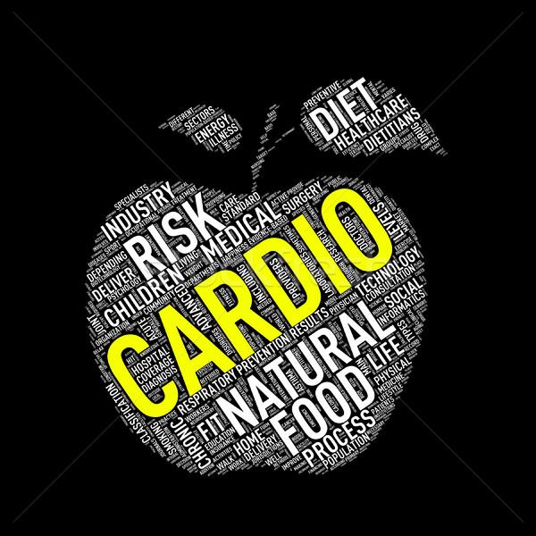 Egészségügy alma forma szófelhő kardio illusztráció Stock fotó © nasirkhan