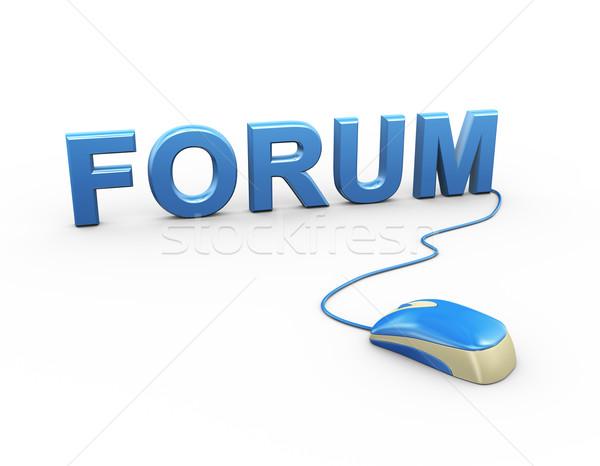 3D egér csatolva szó szöveg fórum Stock fotó © nasirkhan