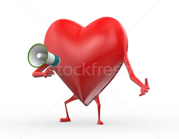 3D coração megafone anúncio ilustração Foto stock © nasirkhan