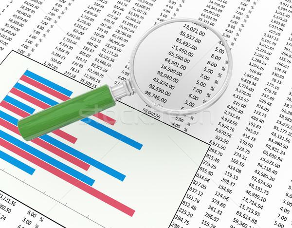 Nagyító pénzügyi irat 3D nagyító fókuszál Stock fotó © nasirkhan