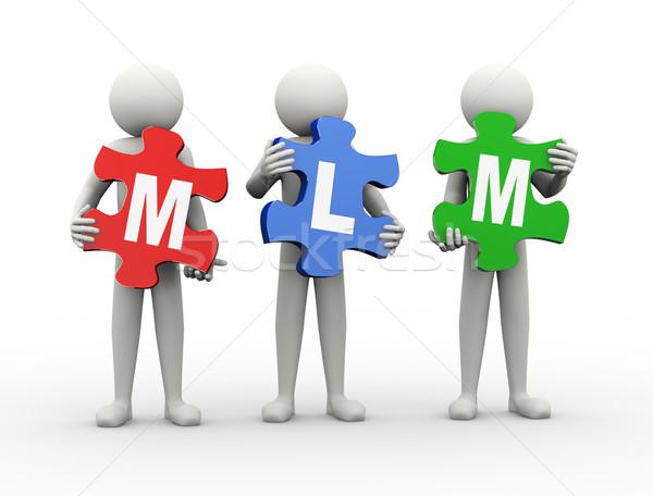 3d man puzzel stuk mlm 3D Stockfoto © nasirkhan