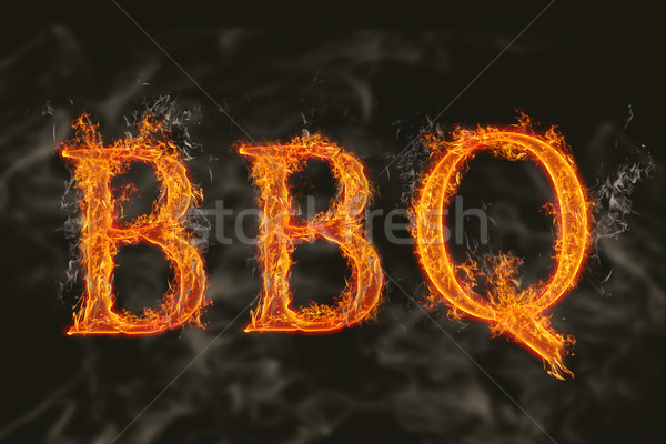 Word bbq with flaming fire effect Stock photo © nasirkhan