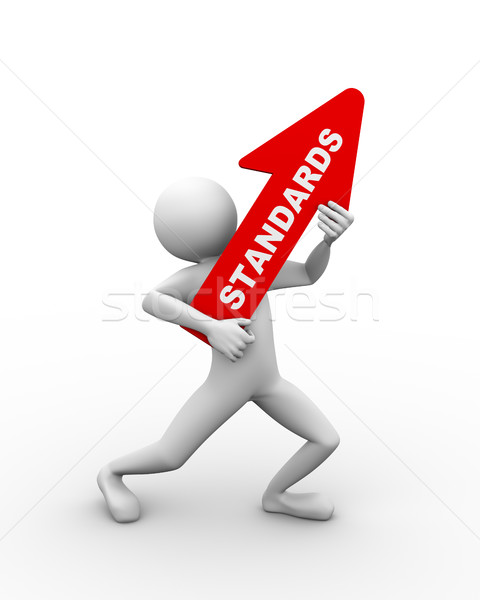 3d man holding word text standard Stock photo © nasirkhan