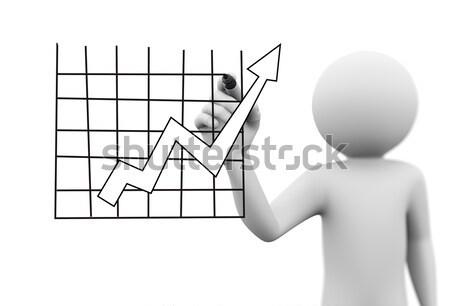 3d person drawing flow arrow chart design Stock photo © nasirkhan