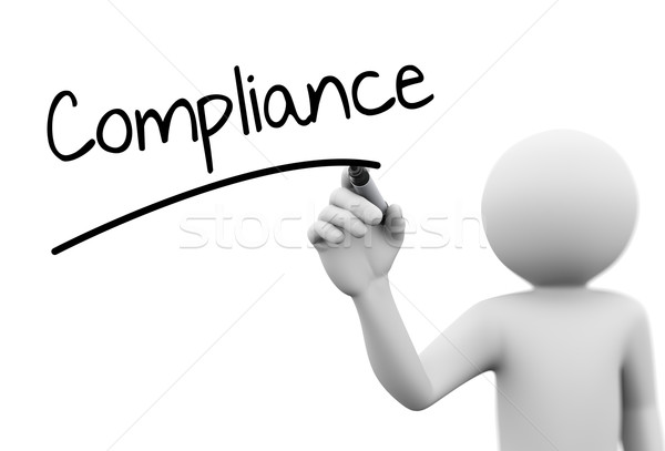 3d person writing compliance on transparent screen Stock photo © nasirkhan
