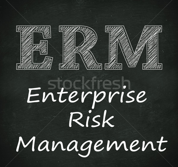 Chalkboard illustration of erm - enterprise risk management Stock photo © nasirkhan