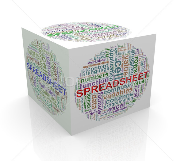 3d cube word tags wordcloud of spreadsheet  Stock photo © nasirkhan