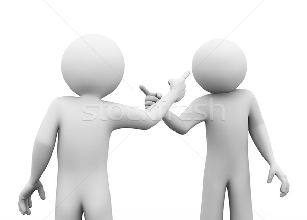 Stock photo: 3d people fighting dispute