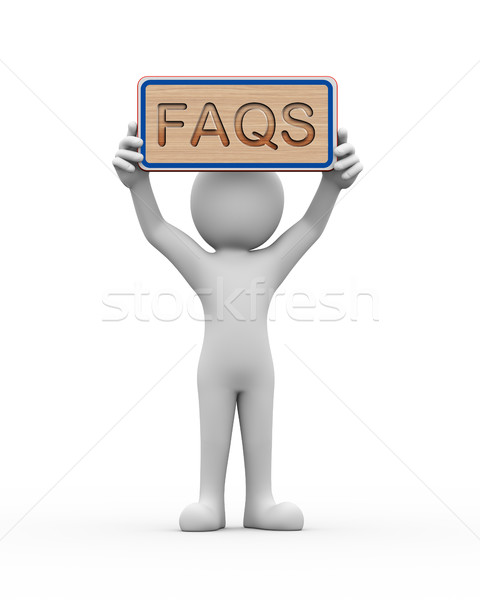 3d man holding engraved banner word text faqs Stock photo © nasirkhan