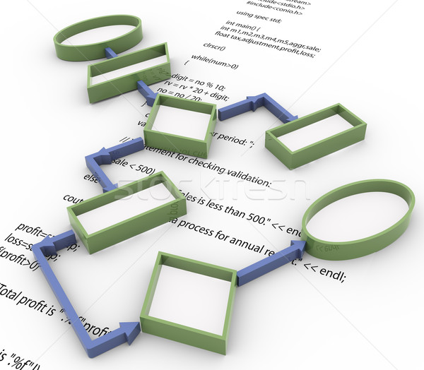 3D diagramma di flusso codice rendering 3d programma Foto d'archivio © nasirkhan