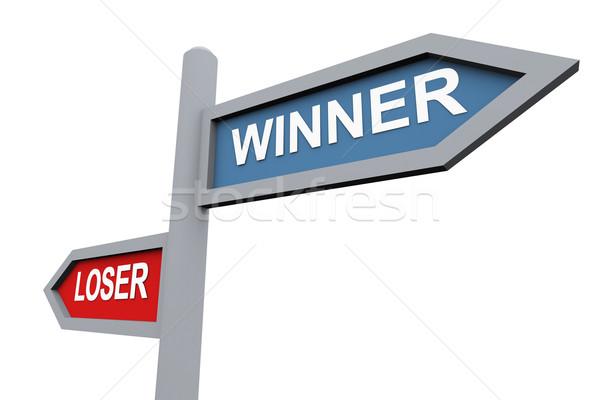 Winnaar verliezer 3D verkeersbord tekst weg Stockfoto © nasirkhan