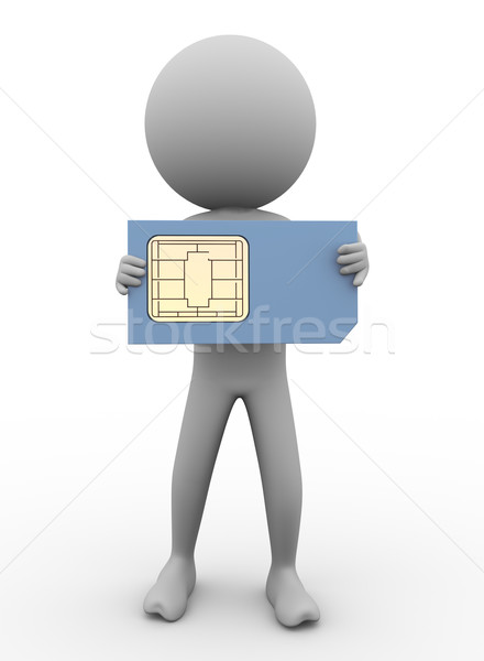 Stock photo: 3d man and sim card