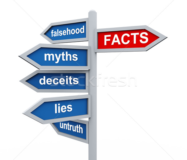 3d roadsign of facts vs lies wordcloud Stock photo © nasirkhan