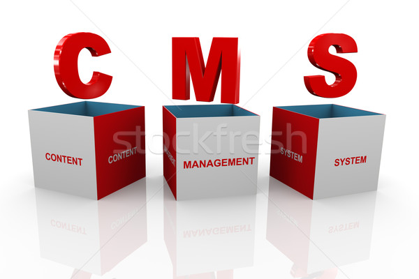 3d box of cms - content management system Stock photo © nasirkhan