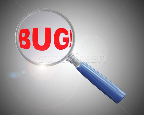 3D vergrootglas woord bug vergrootglas Stockfoto © nasirkhan