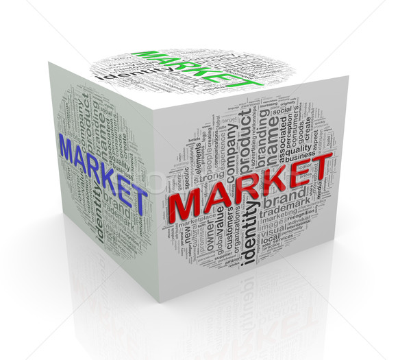 3d cube word tags wordcloud of market Stock photo © nasirkhan