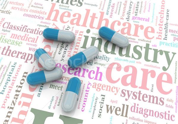 Stock fotó: 3D · tabletták · szófelhő · szó · egészség · internet