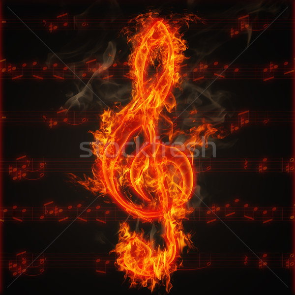 Clef on fire Stock photo © nasirkhan