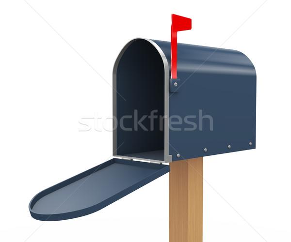 Сток-фото: 3D · открытых · почтовый · ящик · 3d · визуализации · белый
