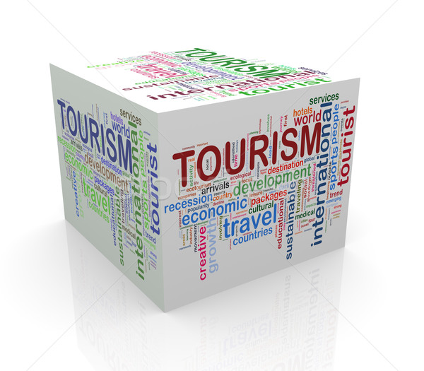 3D cube mot tourisme Photo stock © nasirkhan