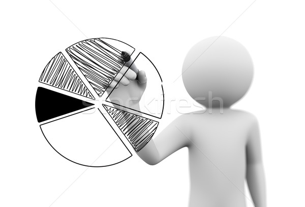 3d személy üzlet kördiagram 3D renderelt kép férfi Stock fotó © nasirkhan