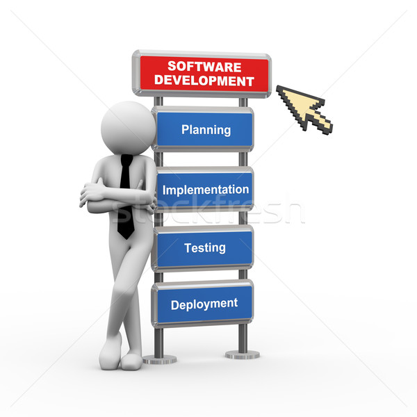 3d businessman and concept of software development Stock photo © nasirkhan