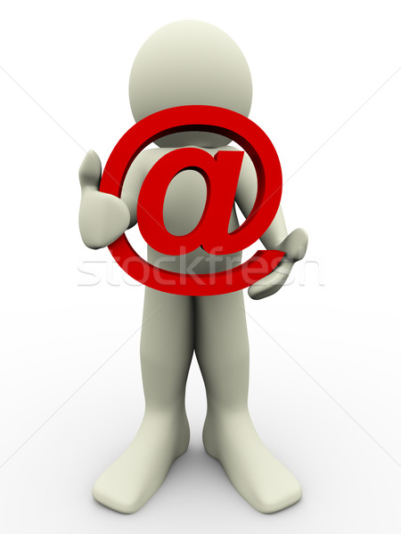 Stock photo: 3d man and email sign