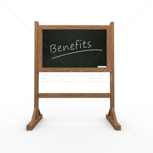 3d black chalkboard word benefits Stock photo © nasirkhan