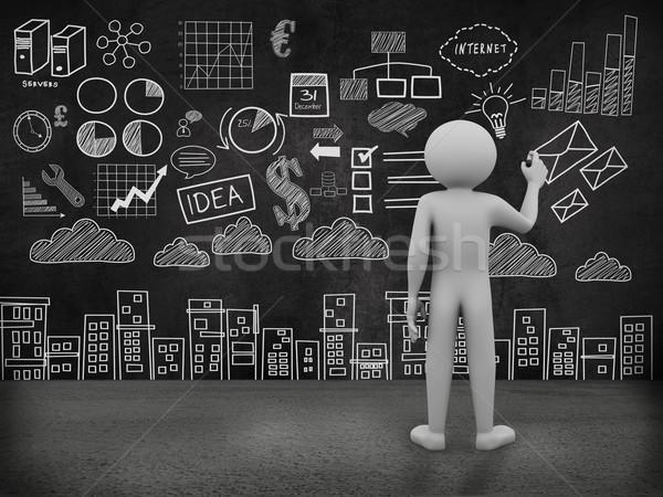 Mężczyzna 3d działalności rysunek ściany 3D Zdjęcia stock © nasirkhan