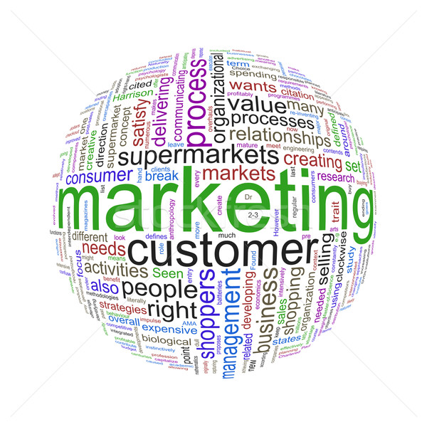 Wordcloud word tags ball of marketing Stock photo © nasirkhan