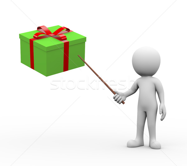 3d man presenting explaining giftbox Stock photo © nasirkhan