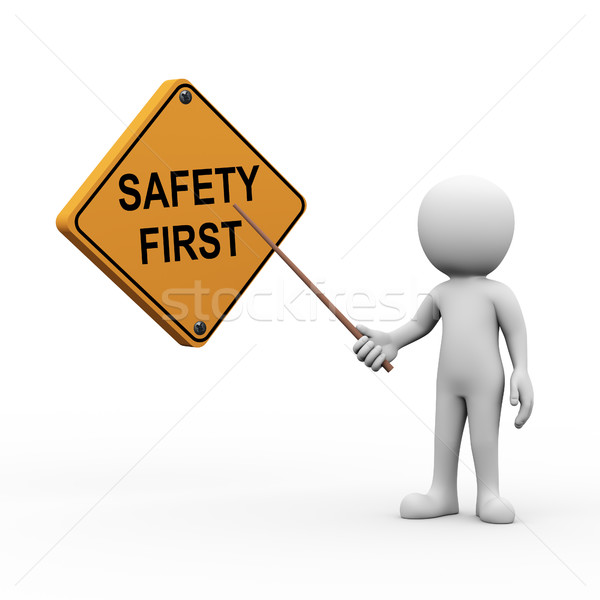 3d man presenting explaining safety first Stock photo © nasirkhan