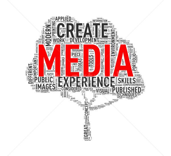 Tree shape wordcloud media Stock photo © nasirkhan