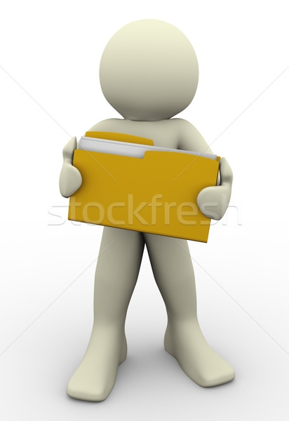 Stock photo: 3d man holding folder
