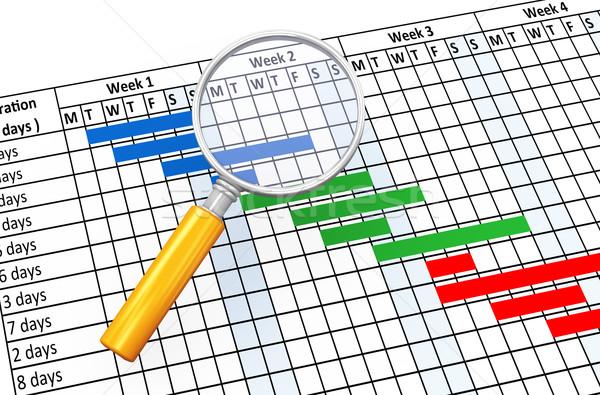 3d magnifier and gantt chart Stock photo © nasirkhan