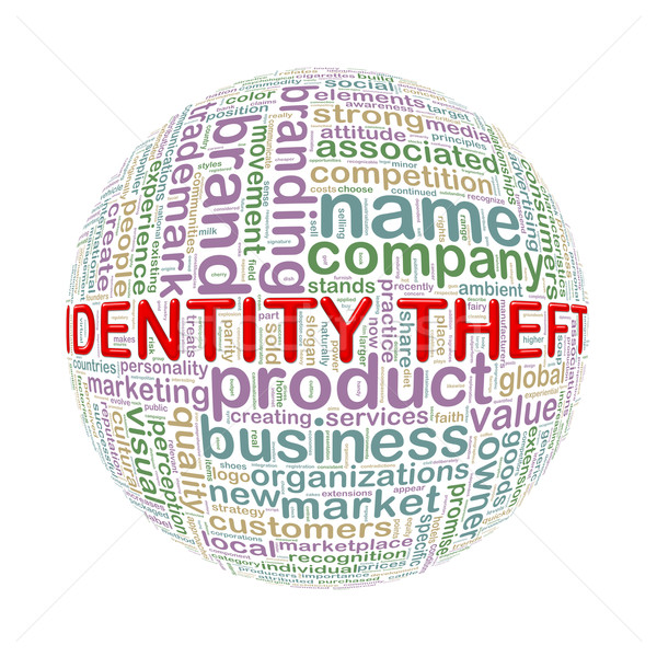 Wordcloud word tags ball of identity theft Stock photo © nasirkhan