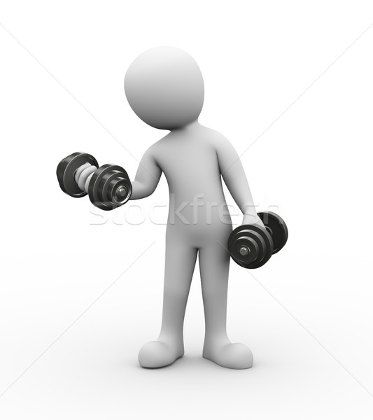 3d person gym dumbbell exercis Stock photo © nasirkhan