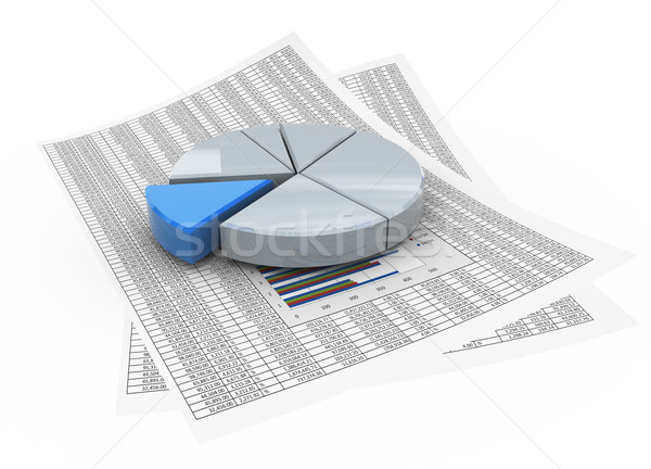 Stock photo: 3d pie chart on financial paper