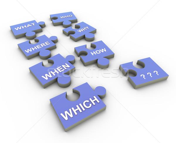 3d question word puzzle peaces Stock photo © nasirkhan