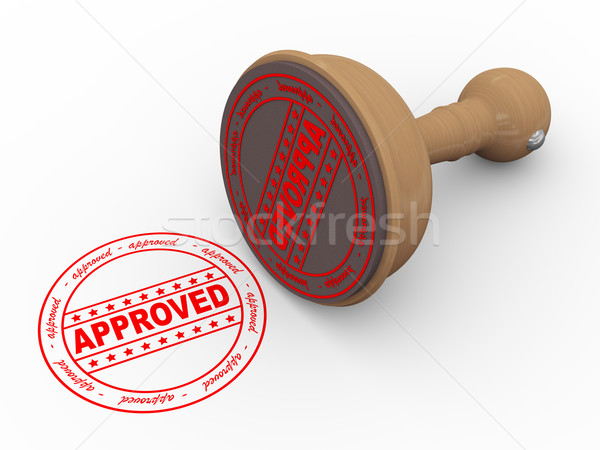 3d wooden rubber stamp - approved Stock photo © nasirkhan