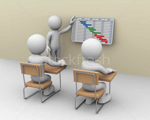 3d business person presenting gantt chart progress Stock photo © nasirkhan