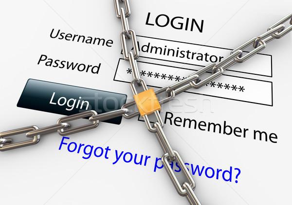 Beveiligde internet verbinding 3d render online veiligheid Stockfoto © nasirkhan